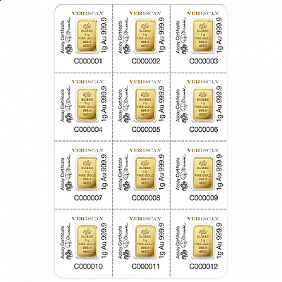 PAMP Fortuna 12 x 1 Gram Multigram Gold Bars
