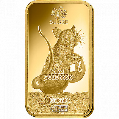 PAMP Lunar Year of The Rat 1 Ounce Gold Bar